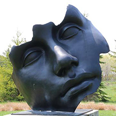 large garden decoration bronze face art sculpture