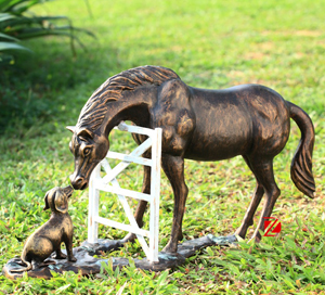HORSE WITH DOG BRONZE SCULPTURES DZB-22