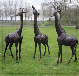 BRONZE GIRAFFE FAMILY STATUES DECOR DZ-GIRAFFE19
