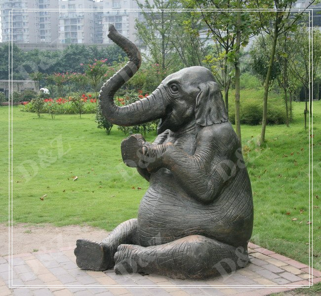 SITTING ELEPHANT BRONZE SCULPTURE HEIGHT 79 INCHES DZ-ELEPHANT21
