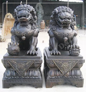 TRODITIONAL BRONZE FOO DOG STATUE GATE DECOR DZ-FOO DOG07