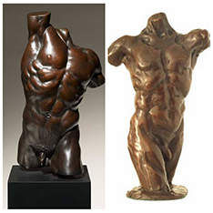 metal life size strong nude man Torso bust statue