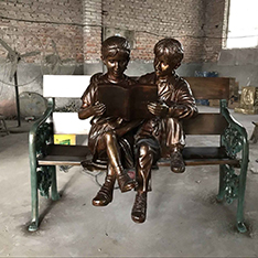 casting bronze life size children sculpture on bench statue