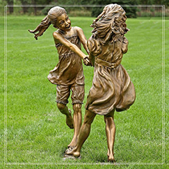 garden decoration life size two girl bronze sculpture