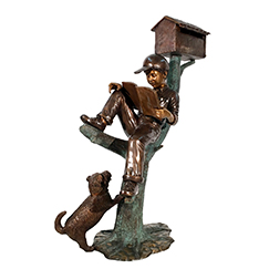 hot sale bronze boy reading letter mailbox statue with dog