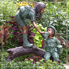 life size children playing bronze statue for garden decoration