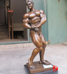 Bronze muscle man statues