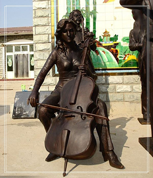 life size lady playing cello for decor
