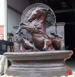 Bronze horse fountain sculpture