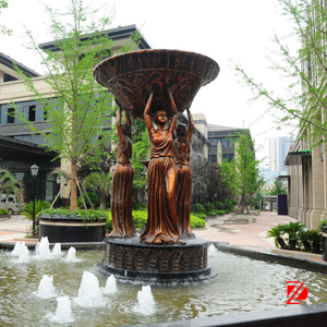 Bronze lady fountain statue