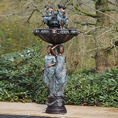 large outdoor garden water fountain lady and lion head bronze sculpture