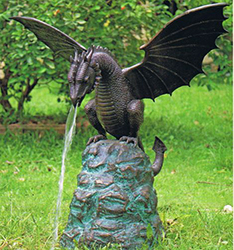 metal bronze dragon water fountain sculpture