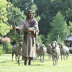 outdoor life size jesus holding sheep statues