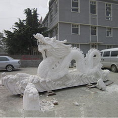 White marble dragon sculpture