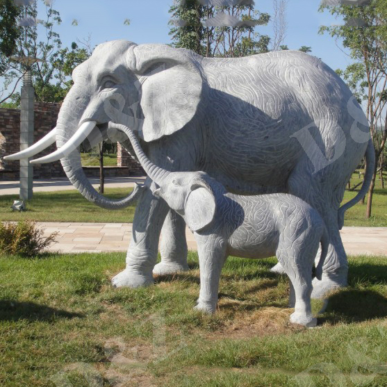 Black Marble Large Elephant Statues For Garden Park Decor