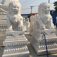huge white sitting foo dog statues sale