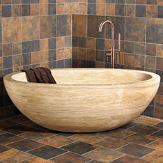 Yellow travertine oval stone bathtub wholesale