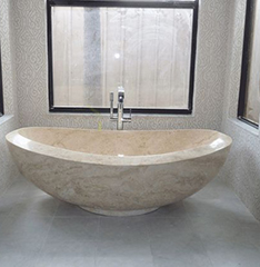 custom made hand craft yellow travertine bathtub
