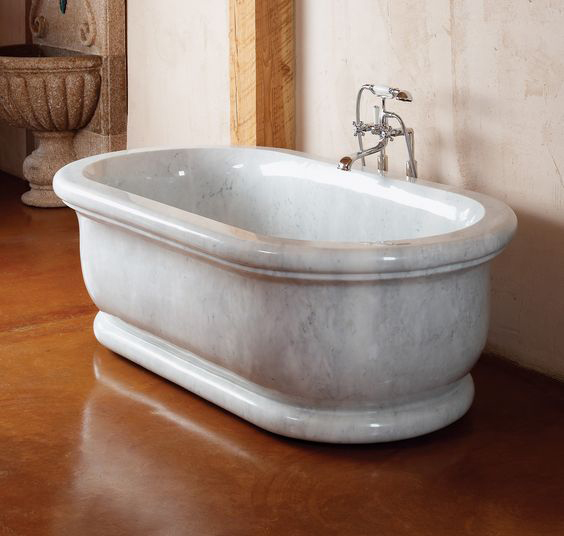 hand carved natural white high polished faux stone bathtub