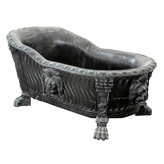high polished black marble stone lion feet bathtub