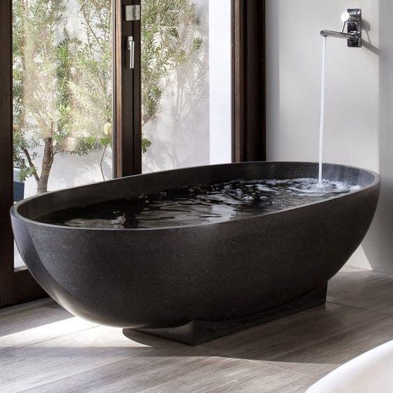 Natural Black Marble Freestanding Bathtub