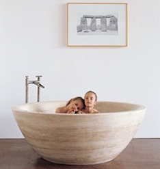 yellow travertine round stone bathtub for child