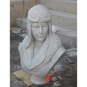 Amelia Earhart white marble sculpture
