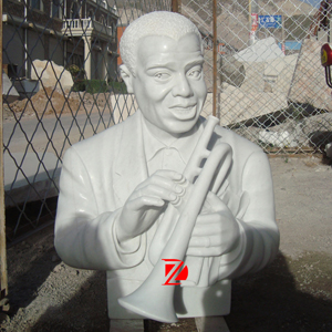 Louis Armstrong stone bust sculpture