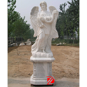 White stone angel sculpture