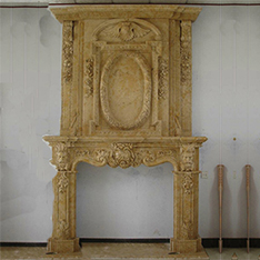 Large high quality yellow color stone fireplace frame