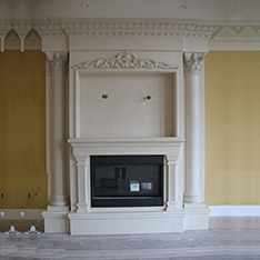 Modern natural white marble fireplace frame