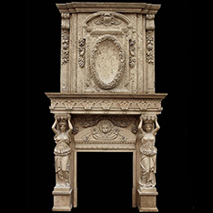 Traveritne double fireplace mantel with statues for sale