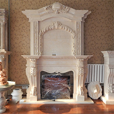cream color living room fireplace mantel 2 layers