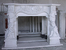 marble fireplace with angel