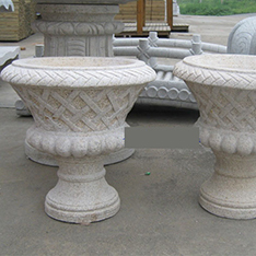 decorative granite flower pots with flowers