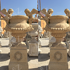 yellow limestone custom made angel flower pots