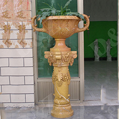 yellow marble custom made italian flower pots with grape relief decor
