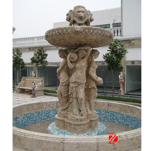 Travertine watering lady fountain