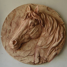 horse head wall relief sculpture