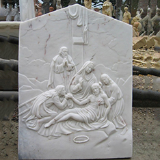 natural white marble custom amde religious Catholicism Juses and mary wall art decor