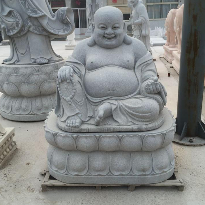 Grey granite happy large buddha statues for sale