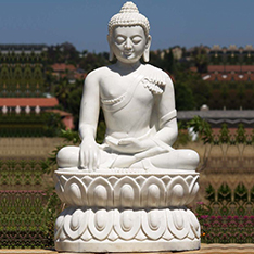 natural white marble sitting buddha statue