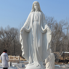 custom made large white Virgin Mary marble statue