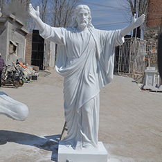 outdoor large stone jesus statue open the arms