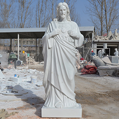 pure natural white marble jesus christ statue in meditation