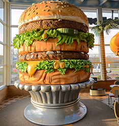 Large food model hamburger staute for shop decoration