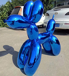 Bule chrome color mofern fiberglass balloon dog sculpture