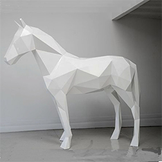 Indoor display decoration fiberglass white horse statue