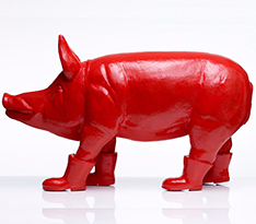 Modern style fiberglass pig wearing shoes statue