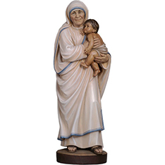 Life size catholicism mother Teresa holding baby sculpture
